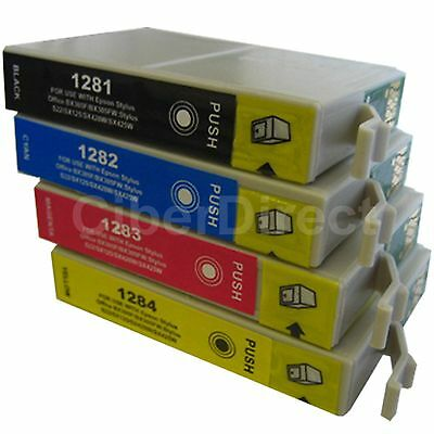 4 CiberDirect Replacements For Epson T1285 Printer Ink Cartridges - VAT Invoice • 6.33£