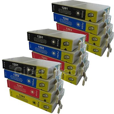 12 CiberDirect Replacements For Epson T1285 Printer Ink Cartridges - VAT Invoice • 14.81£
