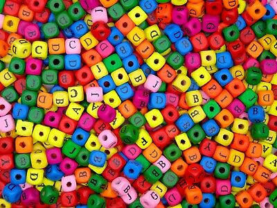 £2.59 • Buy 50 Pcs  10mm Mixed Colour Alphabet  Letter Cube Wooden Beads Craft Beading G179