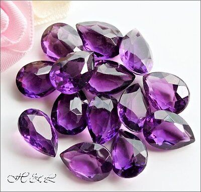 6 Czech 14mm X 10mm Amethyst Glass Crystal Teardrop Pear Shape UF Jewellery • 3£