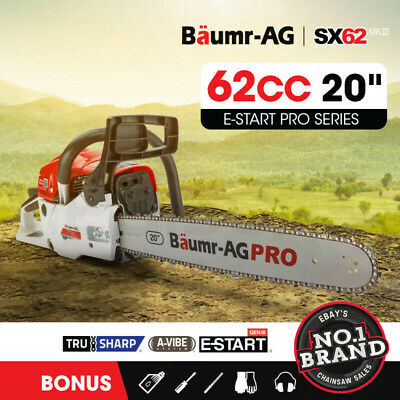 AU166 • Buy Baumr-AG 62cc Petrol Commercial Chainsaw 20 Bar E-Start Pruning Chain Saw