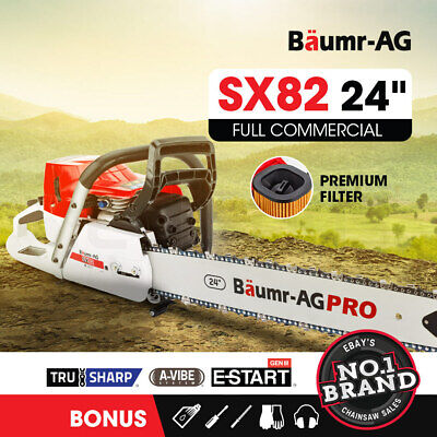 AU199 • Buy BAUMR-AG Commercial Petrol Chainsaw E-Start 24 Chain Saw Top Handle Tree Pruning