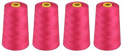 £10.99 • Buy CERISE PINK SEWING THREAD 120s SPUN POLYESTER, OVERLOCKING 5000 YARDS X4 CONES