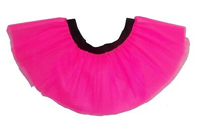 Neon Pink Tutu Skirt 80's Fancy Dress Hen Party Fun Run Plus Size Club Wear  • 4.99£