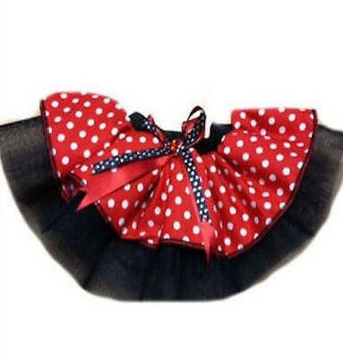 RED TUTU SKIRT MINNIE MOUSE POLKA DOT 80s FANCY DRESS COSTUME PARTY TODDLER • 6.99£