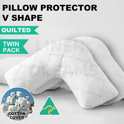 AU29.50 • Buy 2 X Aus Made V-Shape/Tri/Boomerang Pillow Protector-Zipped Quilted Cotton Cover
