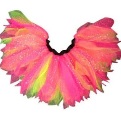 Neon Pink Tutu Skirt 5 Layer Feather Sparkle 80's Fancy Dress Hen Party Fun Run • 6.99£