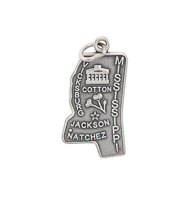 $12.99 • Buy Sterling Silver Mississippi The Magnolia State Charm/pendant