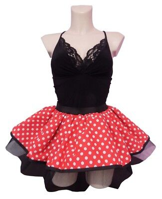 Minnie Mouse Tutu Red White Polka Dot Skirt 80s Fancy Dress Hen Party Costume • 8.99£
