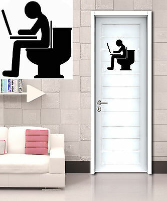 £1.65 • Buy Funny Blogger With Laptop Toilet Entrance Sign Wall Art Decal Vinyl Sticker