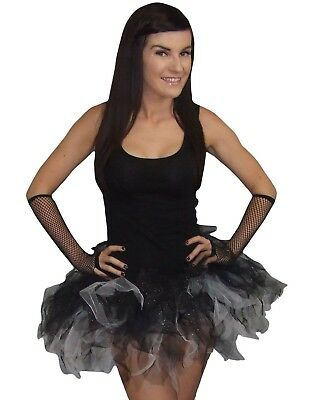 Black White Tutu Skirt 4 Layer Sparkle Halloween Party 80s Fancy Dress Plus Size • 6.99£
