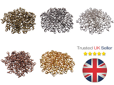 50 - 12mm Lobster Claw Clasps  Findings Silver Black Gold  ** PICK COLOUR ** ML • 2.69£