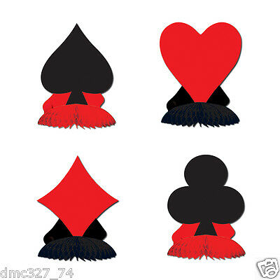 $7.99 • Buy 4 Casino Vegas Alice In Wonderland Party MINI Decorations CARD SUIT Playmates