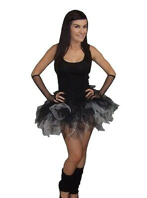4 Layer Neon Black White Sparkle Tutu Legwarmer Gloves Halloween Fancy Dress  • 8.99£