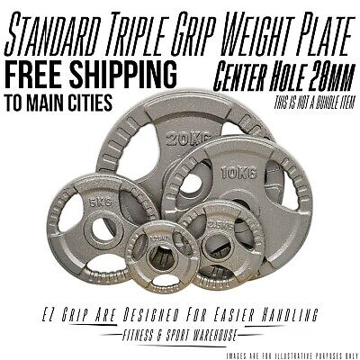 AU55 • Buy 1.25kg-20kg Standard Solid Cast Iron Hammertone Weight Plate 28mm Weightlifting