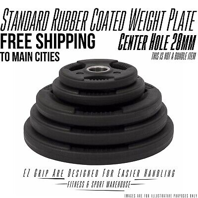 AU69 • Buy 1.25KG - 20KG Standard Rubber Coated Weight Plates Weightlifting Strength 28mm