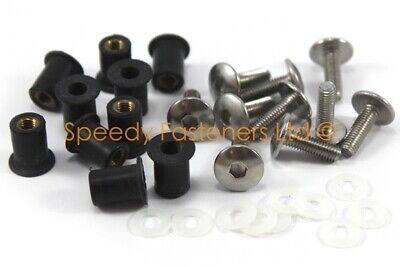 Motorcycle Belly Pan Fairing 10 PieceWellnut & Bolt Kit Stainless Steel M5 Size • 13.99£