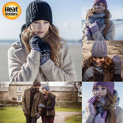 £13.99 • Buy Heat Holders - Ladies Womens Cable Knit Warm Thermal Cold Weather Winter Gloves