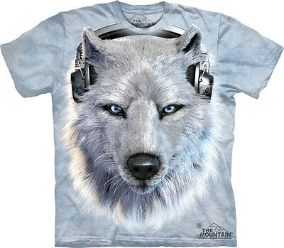 WHITE WOLF DJ The Mountain T Shirt Headphones Unisex • 28.99£