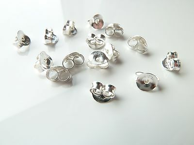 925 Solid Sterling Silver Butterfly Earring Backs/Scrolls Push Fit 3,5,10 & 20 • 2.99£