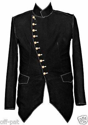Black Rock  Steampunk Jacket Military Tunic  SMOOTH NUBUCK LEATHER All Sizes • 97.40£