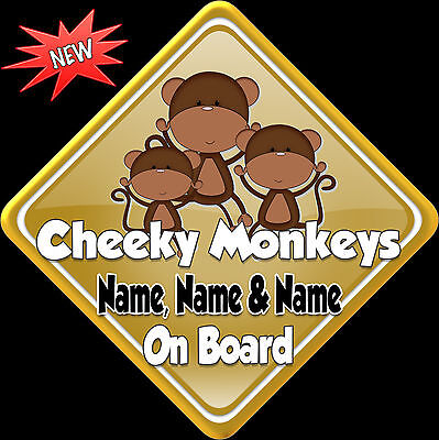 £3.99 • Buy Personalised Baby On Board Car Sign ~ Cheeky Monkeys Gold 3 Names