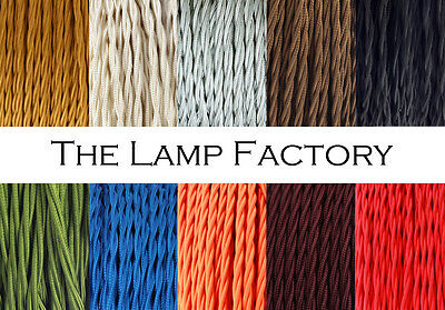 Three Core Twisted Vintage Style  Coloured TWIST Braided Fabric Cable. Lamp Flex • 2.50£