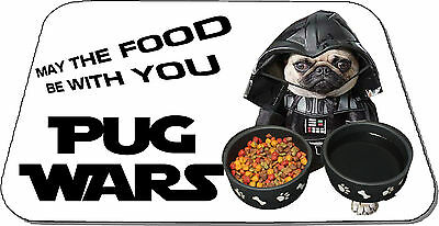 PUG WARS May The Food Be With You Cute Pug Pet Mat Dog Feeding Rubber Backed   • 10.99£