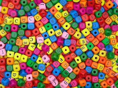 £3.95 • Buy 10mm Mixed Colour Alphabet  Letter Cube Wooden Beads Craft Beading Kids - ML