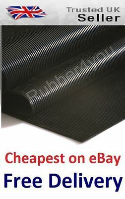 Cheapest AntiSlip FINE Ribbed Rubber Flooring Protection Matting 1.2m Wide X 3mm • 21.99£