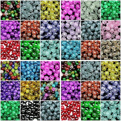 Round Glass Crackle Beads ( 400 - 4mm ) ( 200 - 6mm ) (100 - 8mm ) 50 - 10mm) ML • 1.69£