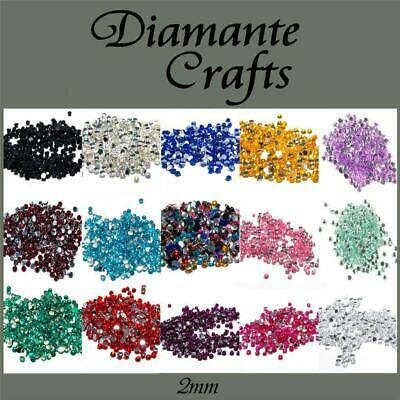 1mm Diamante Loose Flat Back Rhinestone Nail Body Gem Choose From 18 Colours • 1.49£