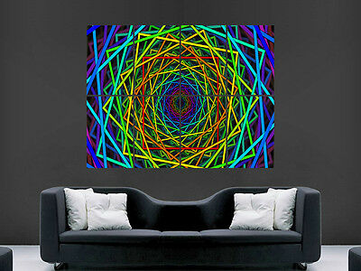 £17.99 • Buy Trippy Neon Squares Art Wall Picture Poster  Giant Huge