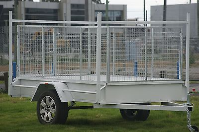 AU1690 • Buy 8x5 Box Trailer With 3ft Galvanised Cage & Ladder Racks