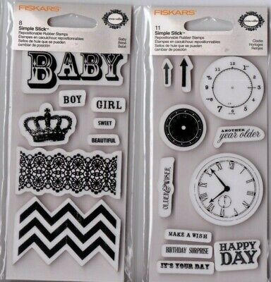 £2.28 • Buy Fiskars Rubber Cling Stamp Sets~several To Choose From~BABY, MUSIC~Cute!