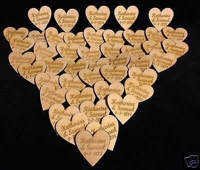 Personalised Wooden Love Hearts 4cm Table Decorations Favours Wedding Rustic • 3.75£