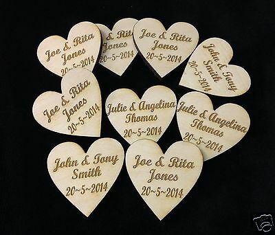 Personalised Wooden Love Hearts 4cm Table Decorations Wedding Party Favours • 22.50£