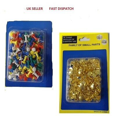 £2.30 • Buy Drawing Pins Brass And Colourful Plastic Push Pins Stationery For Cork Board