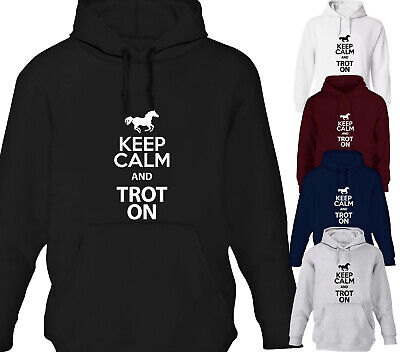 Womens Keep Calm And Trot On Horse Riding Hoodie Ladies Hoody All Sizes Gift • 20.99£