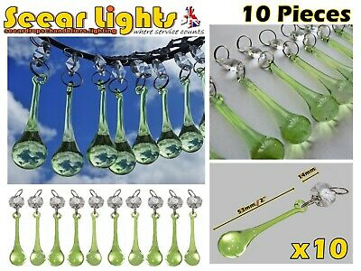 £21.99 • Buy Antique Sage Green Chandelier Glass Crystals 10 Drops Orb Droplets Beads Prisms