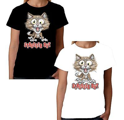 £9.95 • Buy Velocitee Ladies T-Shirt Stressed Out Cat  Funny Kitty Face Fashion W11509