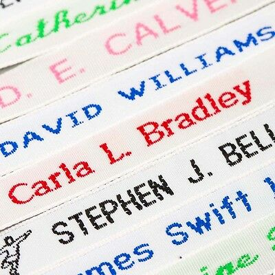 72 Woven Name Tapes/Labels/Tags For School Uniform - Sew On Embroidered / Woven • 5.50£