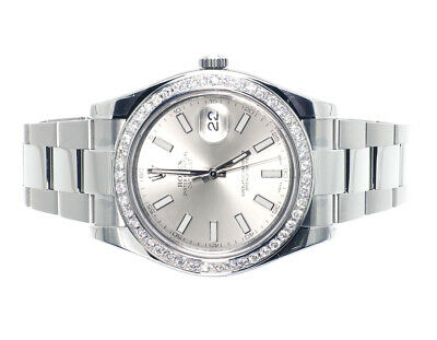 $ CDN14667.38 • Buy Custom Mens New 41 MM Silver Rolex DateJust II 2 With Genuine Diamonds 2.5 Ct