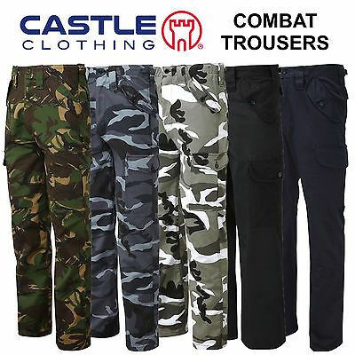 £15.75 • Buy Mens Cargo Combat Work Trousers Army Military Camo Camouflage Blue Castle 901