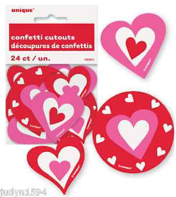 24 Heart Confetti Cutouts Party Table Decoration Valentines Engagement Birthday • 3.04£