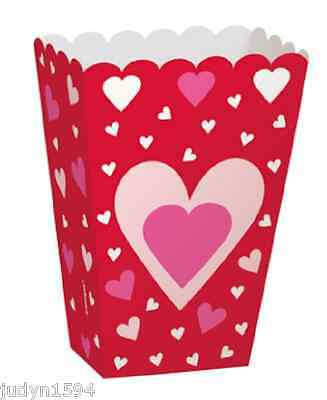 6 Heart Party Favor Treat Boxes Popcorn Engagement Anniversary Valentines Day  • 3.59£