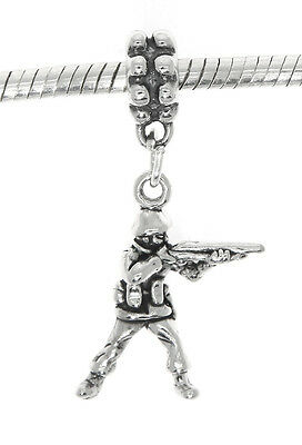 Stering Silver Dangle European Style 3d Toy Soldier Bead Charm • 14.02£