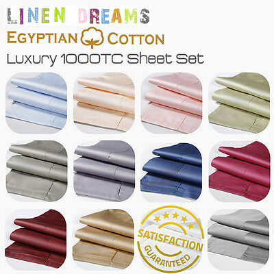 AU66 • Buy All Size 4 Piece 1000TC Egyptian Cotton Flat Fitted Sheet Set Pillowcase