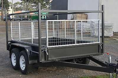 AU3050 • Buy 8x5 Tandem Trailer With Electric Brakes, Racks & 2ft Full Galvanised Cage