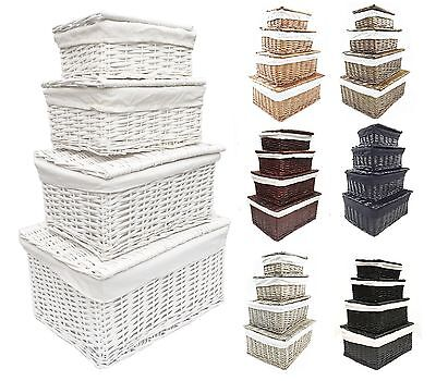 Natural White Grey Lidded Wicker Storage Toy Box Empty Xmas Hamper Basket Lining • 11.99£